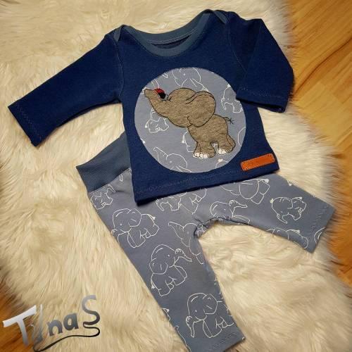Baby Erstlings Set, Leggins und Pulli mit Elefanten/Marienkäfer Stickerei in Gr. 50/56