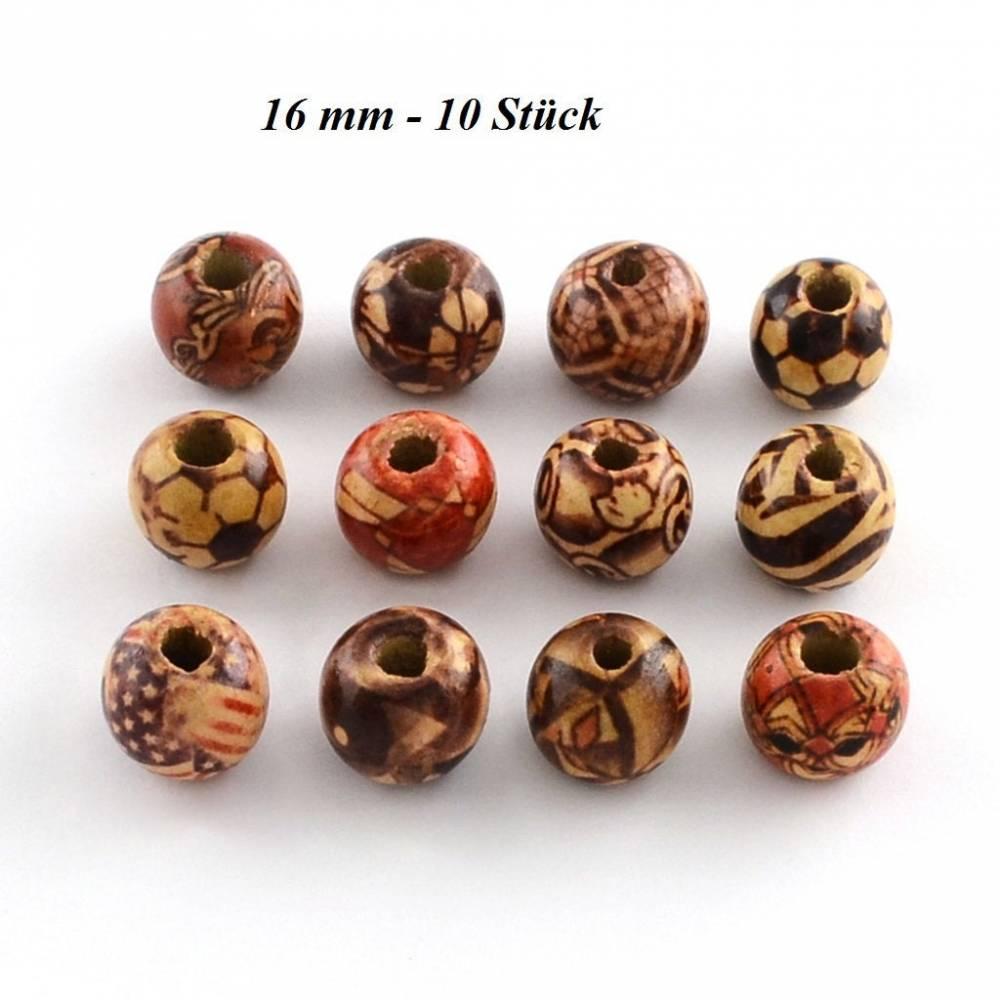 10 Holzperlen, Perlen, Holz, 16mm, 243- 16 mm  Bild 1