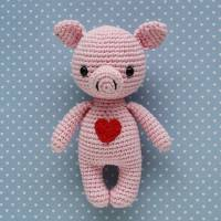 Häkeltier Schwein Mini rosa aus Baumwolle Handarbeit Bild 1