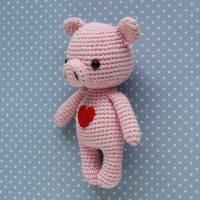 Häkeltier Schwein Mini rosa aus Baumwolle Handarbeit Bild 2