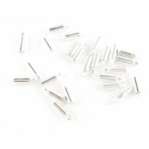 Endkappen für Kautschukband / Lederband 2 mm, versilbert