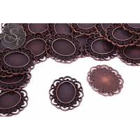 2 Stk. ovale kupferfarbene Cabochon-Fassungen 41mm Bild 1