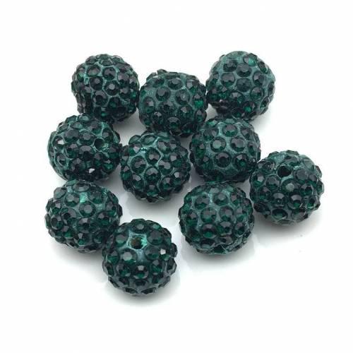 Shamballa Perlen 10mm, Dunkelgrün