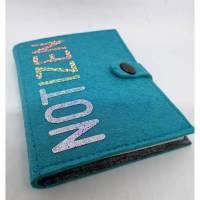 Notizbuch-Set aus türkis-blauem Filz mit geplottetem und aufgepresstem Schriftzug  Bild 1