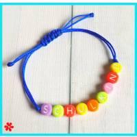 Schulkind Armband Kinderarmband mit Namen personalisiert, Kinder Namensarmband anpassbar, Buchstaben Perlen Bunt Schmuck Bild 1