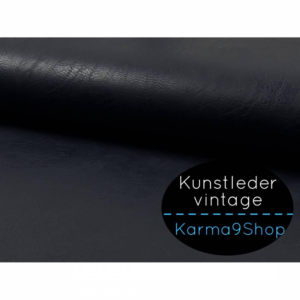 0,5m Kunstleder vintage dunkelblau Bild 1