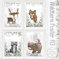 A3 Kinderzimmer Babyzimmer Bilder Set - Poster Waldtiere Baby Wald Tiere /45-A3 Bild 1