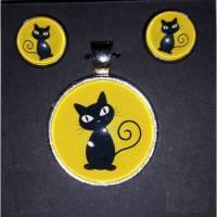 """Edelstahl-Cabochonschmuckset """"schwarze Katze"""" Hänger oder Stecker mit Kettenanhänger Bild 1"""