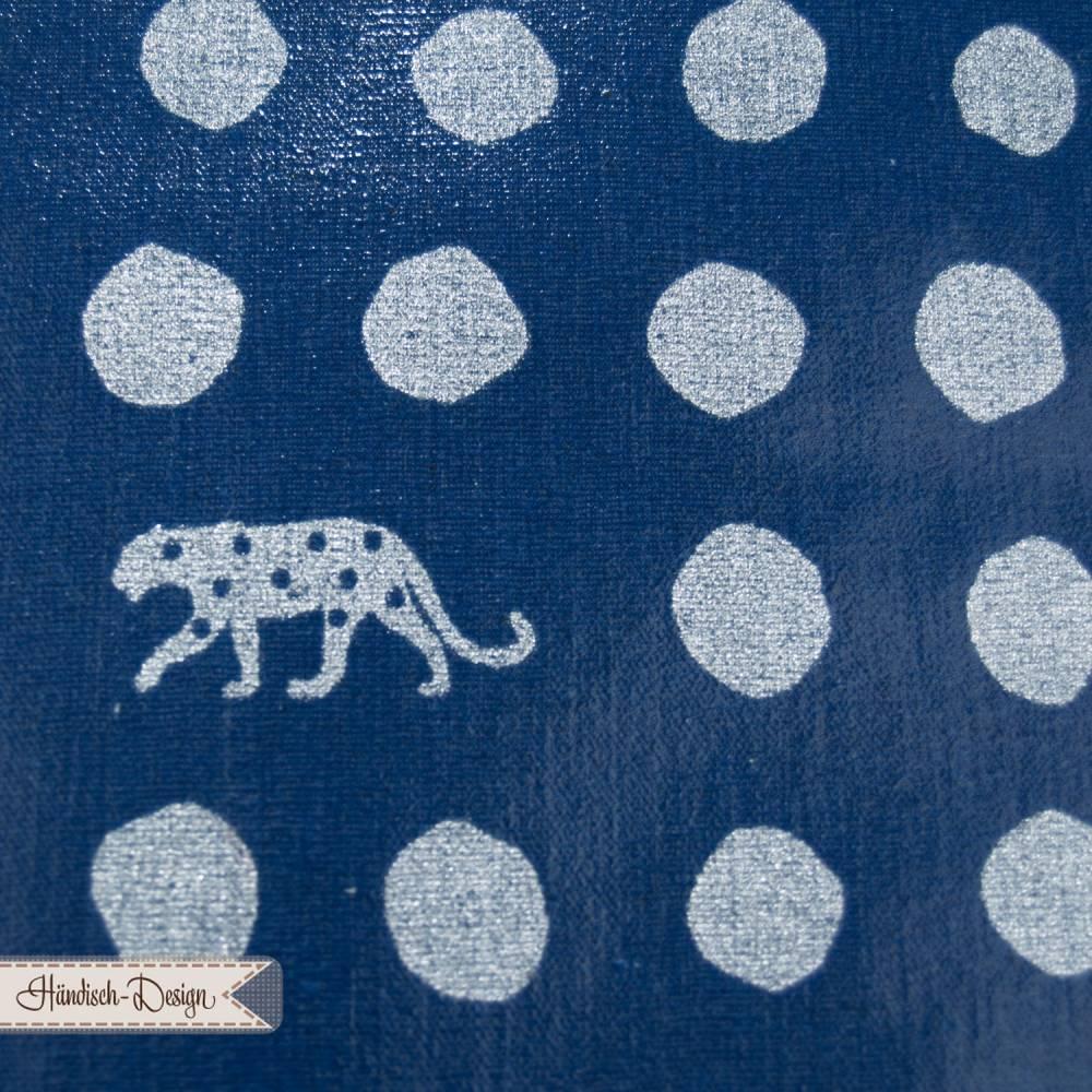"""Wachstuch """"Panther – echino"""" dklblau/silber 32EUR/m kokka echino Bild 1"""