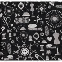 11,90EUR/m Baumwolle Webware Sew Love Nähutensilien von Lycklig Design schwarz-grau Bild 1