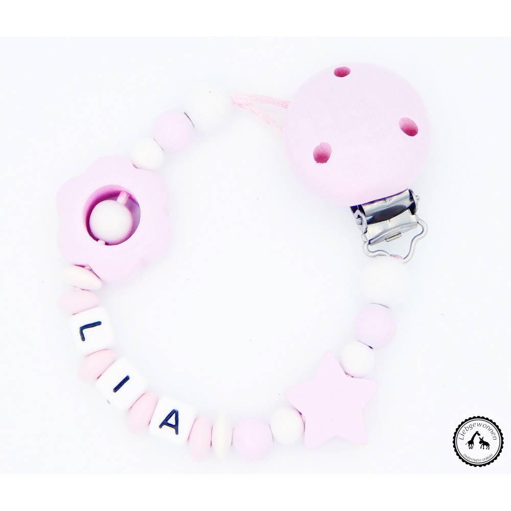 Schnullerkette mit Namen - Blume/Stern in rosa/weiss Bild 1