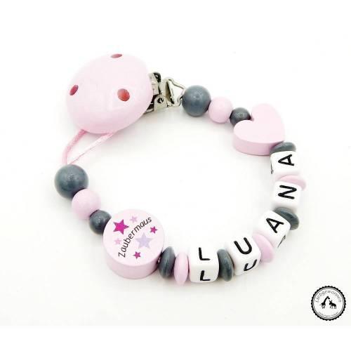 Schnullerkette mit Namen - Herz/Zaubermaus in grau/rosa