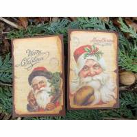 Set ~ 2 Deko - Karten ~ Weihnachtsmann ~ Weihnachtskarte * Weihnachte* Gußkarten * No.2 Bild 1