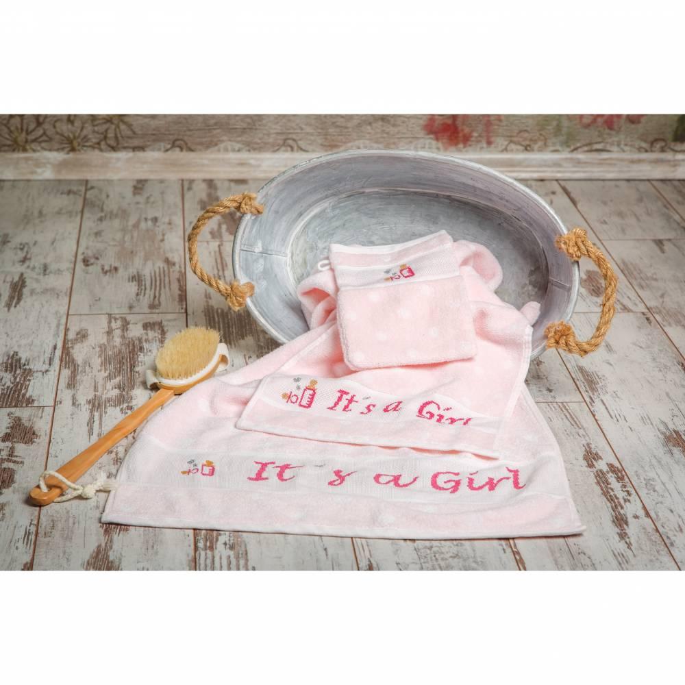 """Set Handtuch, Gästehandtuch und Waschhandschuh, handbestickt, """"It`s a Girl"""" und Motiv, Geschenkidee Baby Mädchen, rosa Bild 1"""