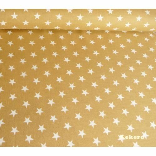 Baumwolle Sterne sand camel beige weiß, Stoff Meterware Swafing, Sale