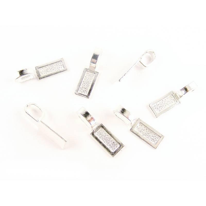 Anhängerschlaufe Collierschlaufe Objekthalter mit Klebeplatte versilbert Bild 1