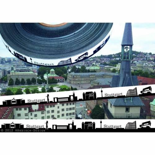 50m (1,30EUR/m) Stuttgart Skyline Webband scharz/weiß