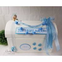 Geschenkbox Truhe Taufe Geburt Baby BLAU Erinnerungstruhe Bild 1