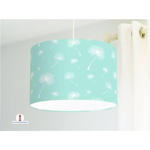 Lampe fürs Kinderzimmer mit Pusteblumen in Weiß auf Mint aus Baumwollstoff - alle Farben möglich