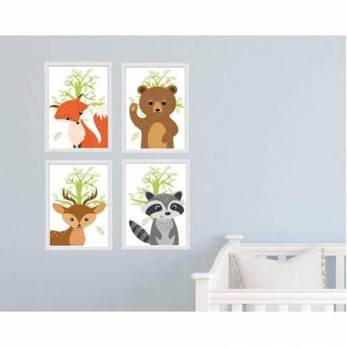 Kunstdrucke - Kinderzimmer - Bilder Set - Tiere K1-K4