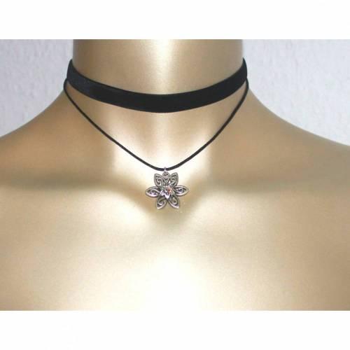 Halsband Kropfband Choker Samt Blume schwarz Dirndl Strass Doppelband Swarovski Elements