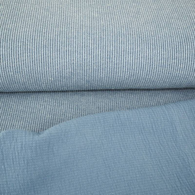 Rippenstrick Rippensweat Rippen Strick jeansblau Stoff Meterware Bild 1