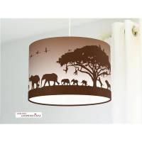 Lampe für Kinderzimmer mit Safaritieren in Braun aus Baumwollstoff - alle Farben möglich Bild 1