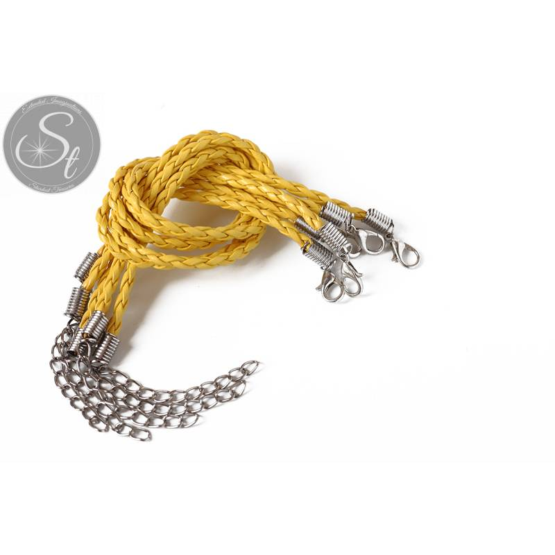 1 Stk. gelbes geflochtenes Lederimitat-Armband ~20cm Bild 1