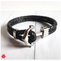 Lederarmband Ankerverschluss Herren, Anker Leder Armband Männer geflochten, Silber Verschluss, Braun Grau Schwarz etc Bild 1