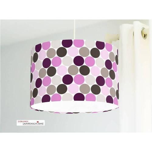 Lampe für Kinderzimmer mit Punkten in Beere und Graubraun aus Baumwollstoff - alle Farben möglich