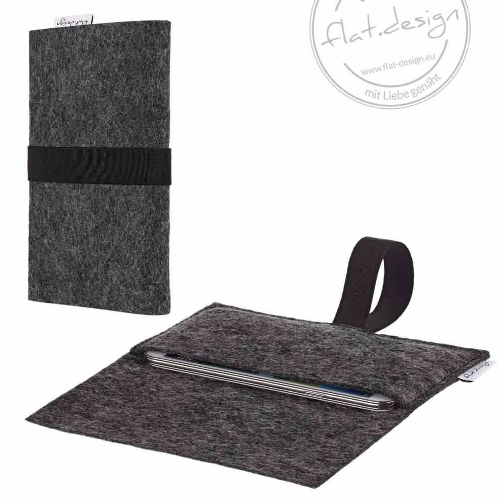 vegane Handyhülle AVEIRO individuell für JEDES Handymodell - aus rein pflanzlichem Filz - anthrazit schwarz - handmade in Germany Bild 1
