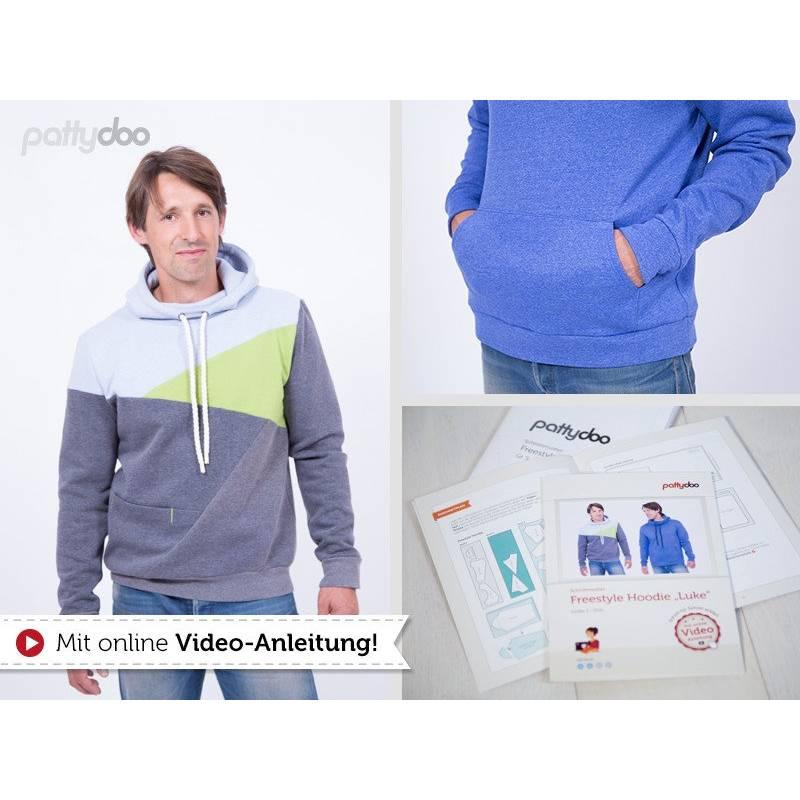 Pattydoo Schnittmuster Freestyle Hoodie Luke, Schnittmuster für Herren - Kleidung, Papierschnitt / Papierschnittmuster Bild 1