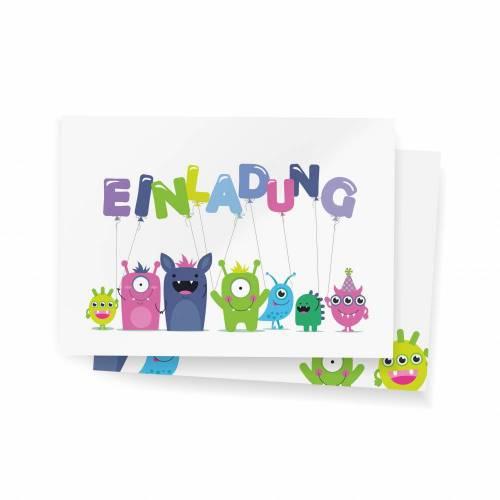 12 Einladungskarten zum Kindergeburtstag - kleine Monster - Einladungen mit passendem Umschlag