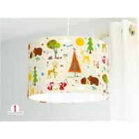 Lampe für Kinderzimmer mit Waldtieren auf hellem Beige aus Baumwollstoff - alle Farben möglich Bild 1