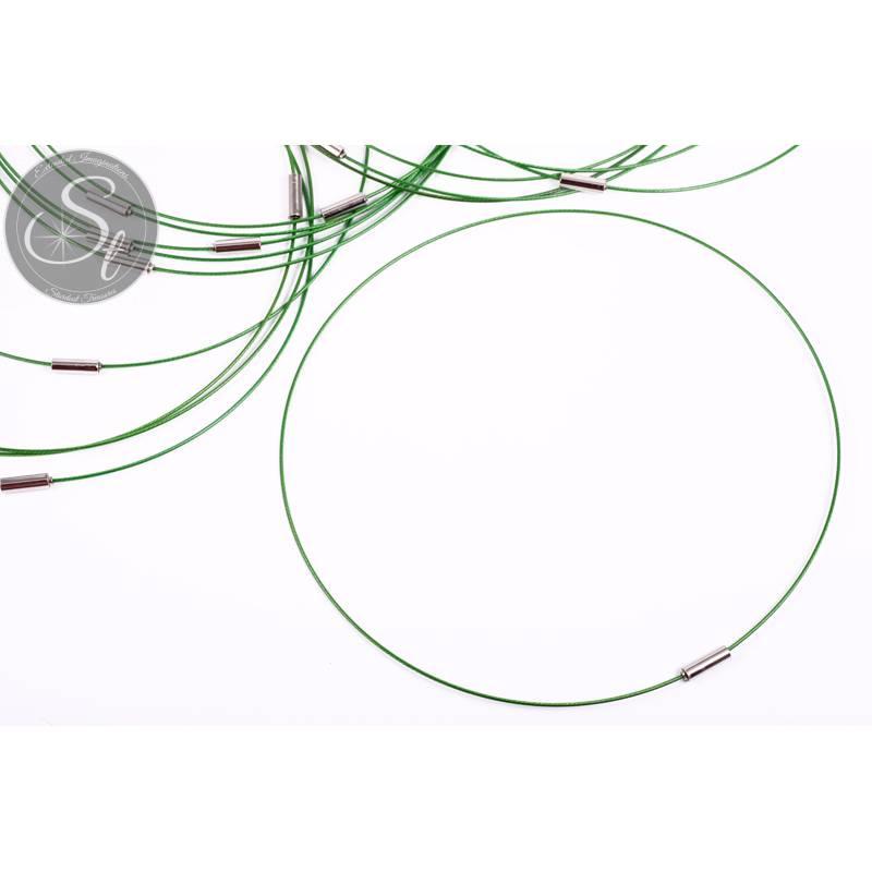 1 Stk. grünes Edelstahl-Collier ~43cm Bild 1