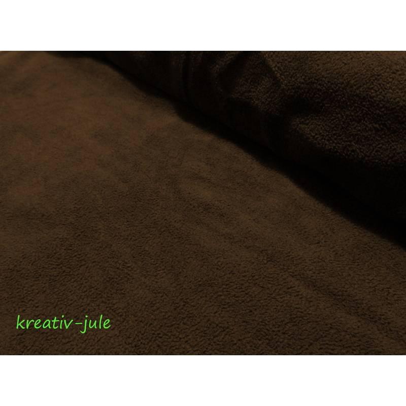 Baumwollfleece  Fleece dunkelbraun braun  Bild 1