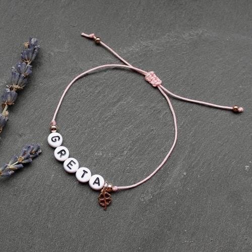 Namensarmband mit Kleeblatt • Armband Makramee   Farbwahl   Armschmuck   persönliches Armband   Glücksarmband   Geschenk Frau   Mädchen