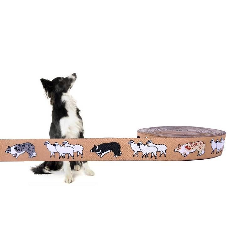 Border Collie Webband Hund mit Schafen, Borte, beige, 20mm schmal, 1 Meter Bild 1