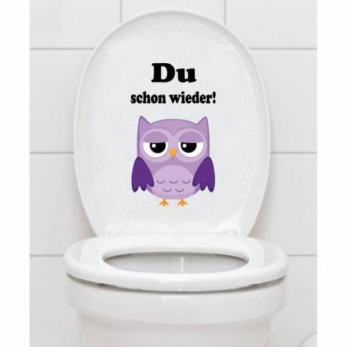 WC Aufkleber - Du schon wieder! - Eule Toilettenaufkleber mit Spruch A046