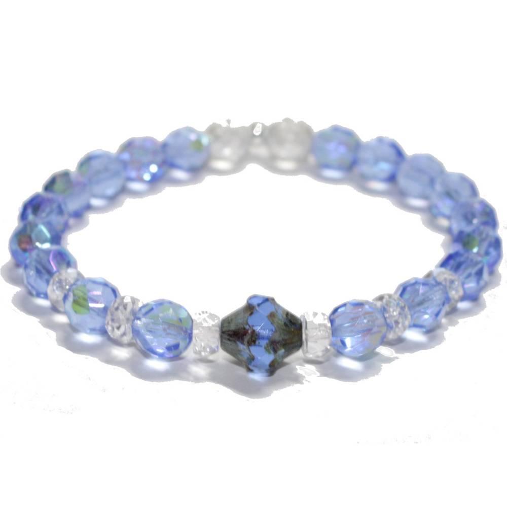 Armband in Meerblau mit Glasschliffperlen Bild 1