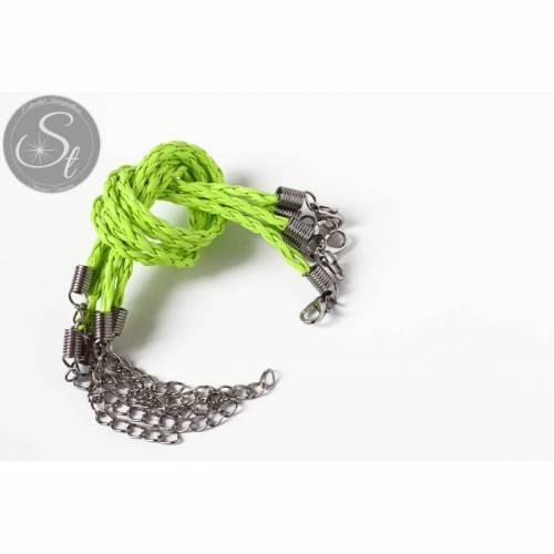 1 Stk. hell-neongrünes geflochtenes Lederimitat-Armband ~20cm