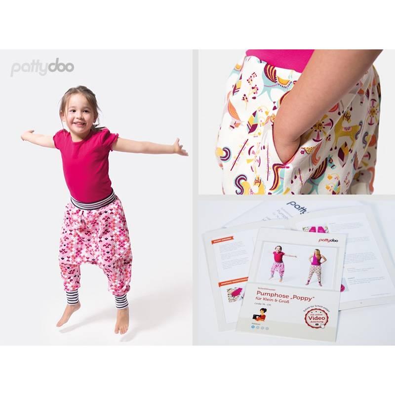 Schnittmuster,Papierschnittmuster, Poppy Pumphose by pattydoo Größe:74-170 (1 Stück/9,- €) Bild 1