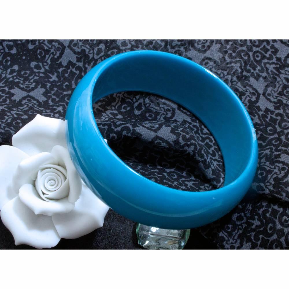 Armreif türkisblau 70er, 80er Jahre, W. Germany, Armschmuck, Kunststoff Armreif breit, Trödel Dings da Bild 1