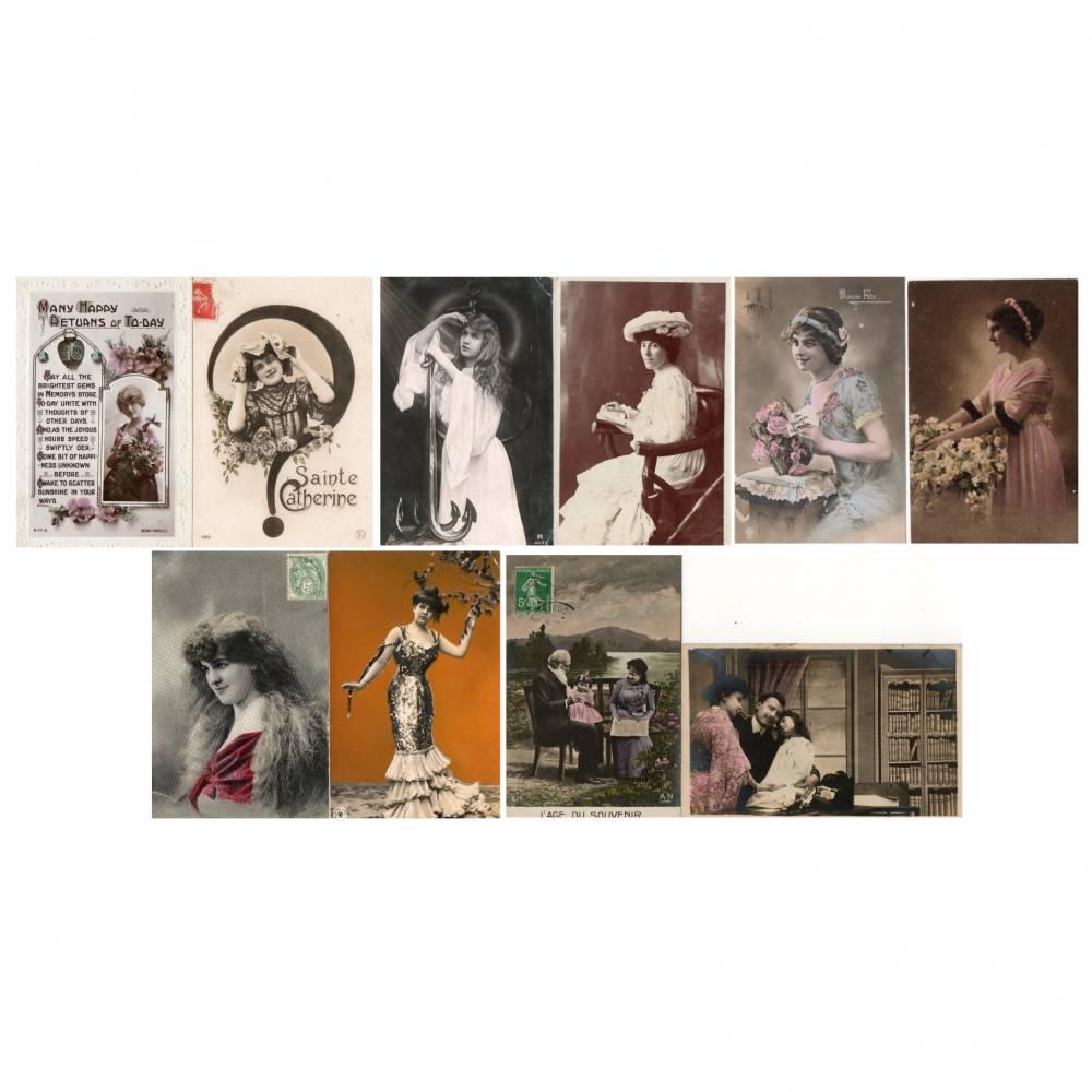 Antik * Vintage * 10 alte Karten * Postkarten * Grußkarten * Set No 5 * Damen Motive Bild 1