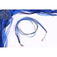 5 Stk. blaue Organza/Wachsband Halsketten 43cm Bild 1