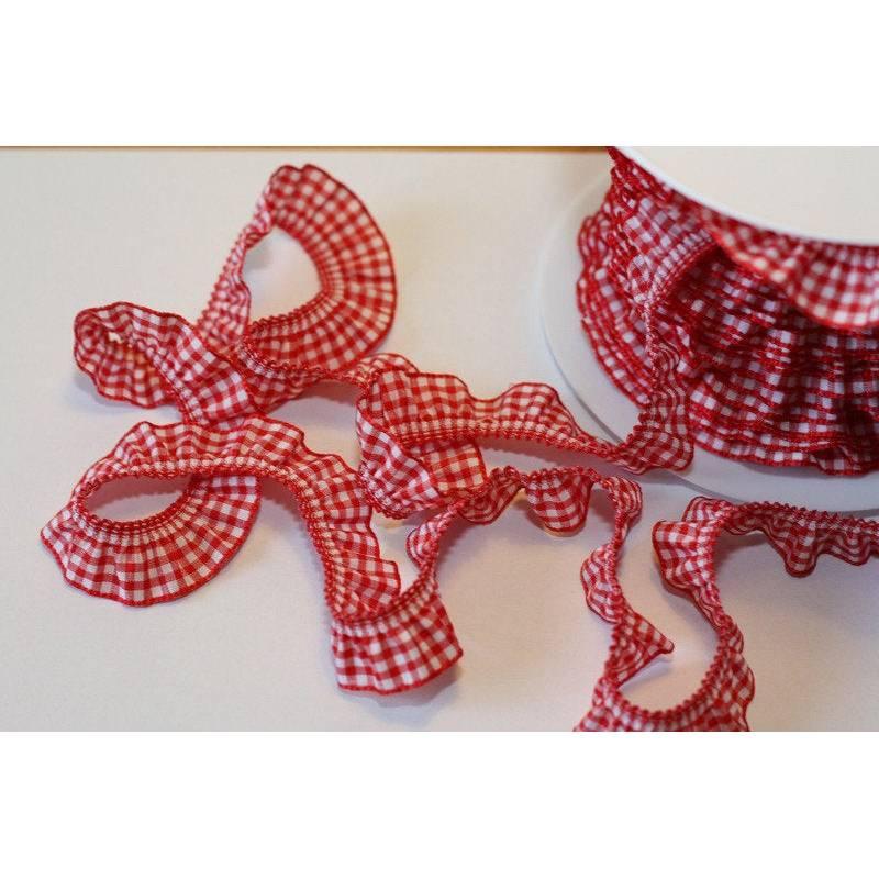 Rüschenband rot/weiß kariert  19mm Bild 1