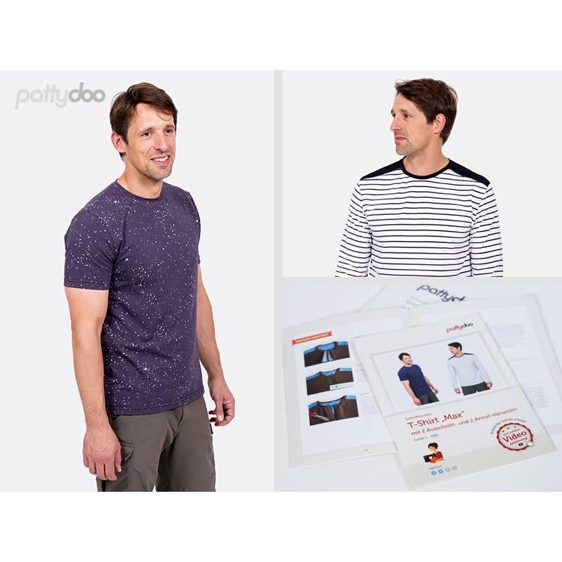 Schnittmuster,Papierschnittmuster, Max Männershirt mit Varianten by pattydoo Größe S - XXXL (1 Stück/9,- €) Bild 1