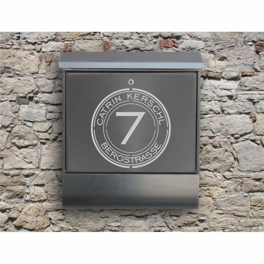 Circle 01 - Briefkastentattoo in Wunschfarbe - Adressaufkleber individualisierbar und selbstklebend Bild 1