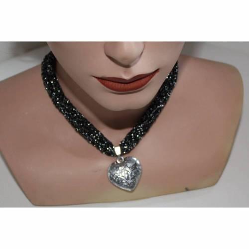 Dirndlkette mit Magnetverschluß, handgearbeitet,  schwarz mit silber , ca. 36 cm, dehnbar bis ca.43 cm lang,