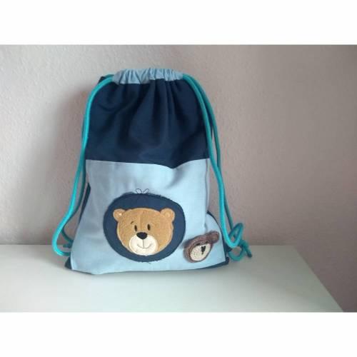 Turnbeutel Kinderturnbeutel Kosmetiktasche Stifteetui Set bestickt mit Bär blau